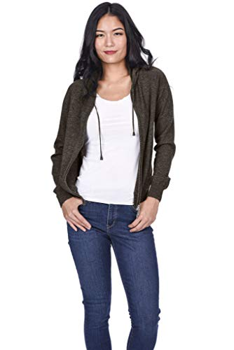 State Cashmere Women's 100% Pure Cashmere Full Zipper Hoodie (Medium, Brown) ()