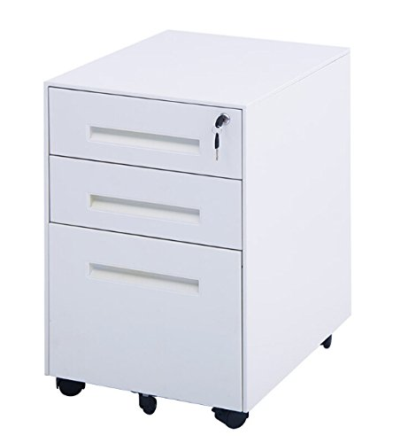 Merax Classic Metal Mobile File Cabinet Fully Assembled Except for 5 Casters, White