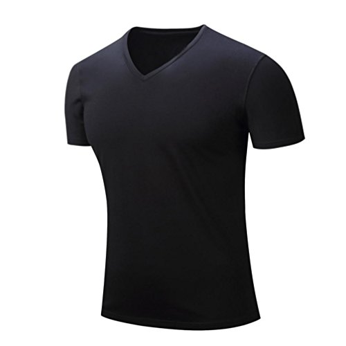 - Realdo Mens T Shirt, Casual Fashion V Neck Solid Pullover Short Sleeve Top Blouse(Black,XX-Large)