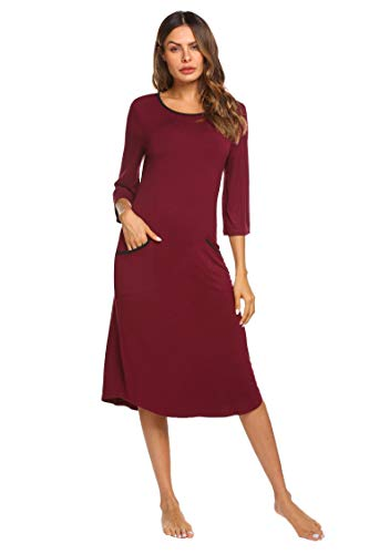 - Ekouaer So Soft Midi Long Nightgown Womens - Nightgowns for Women Cotton (Wine Red S)