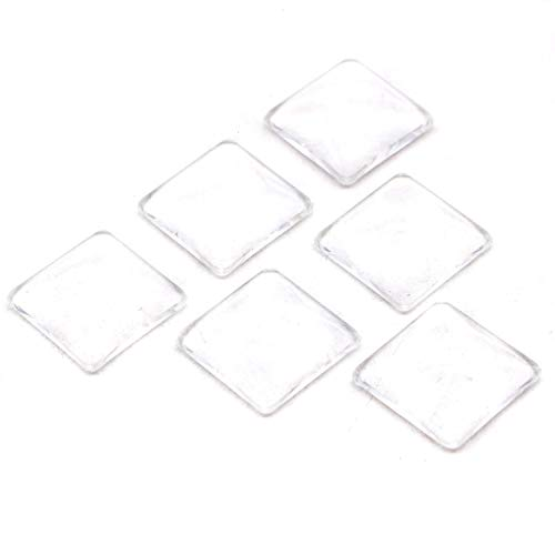 JETEHO Pack of 50pcs 20mm Crystal Clear Round Cabochon Flat Back Glass Dome Clear Square Non-calibrated for Photo Pendant Craft Jewelry Making