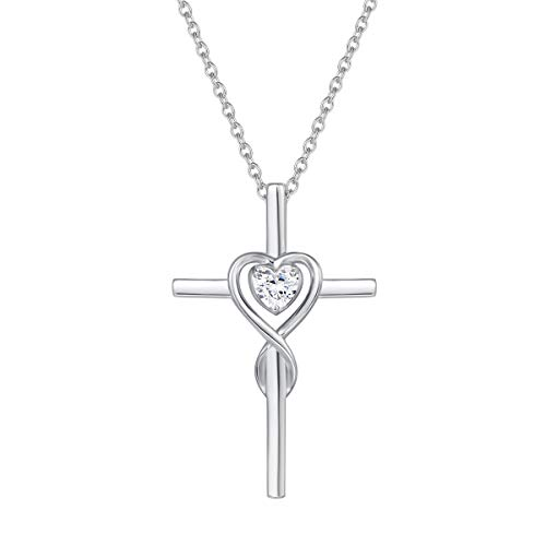 - FANCIME 925 Sterling Silver Cubic Zirconia CZ Heart Crucifix Cross Pendant Necklace for Women Girls with 18 Inch Chain