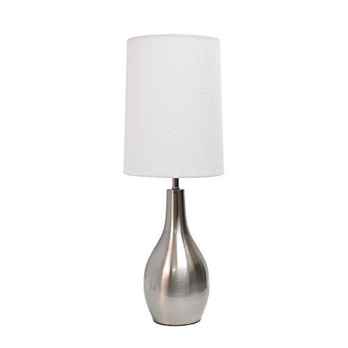 Simple Designs Home LT3303-BSN 1 Light Tear Drop Table Lamp, Brushed Nickel