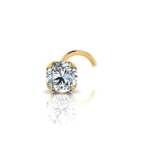 1.5mm 0.015 Carat Diamond Stud Nose Ring In 14K Yellow Gold