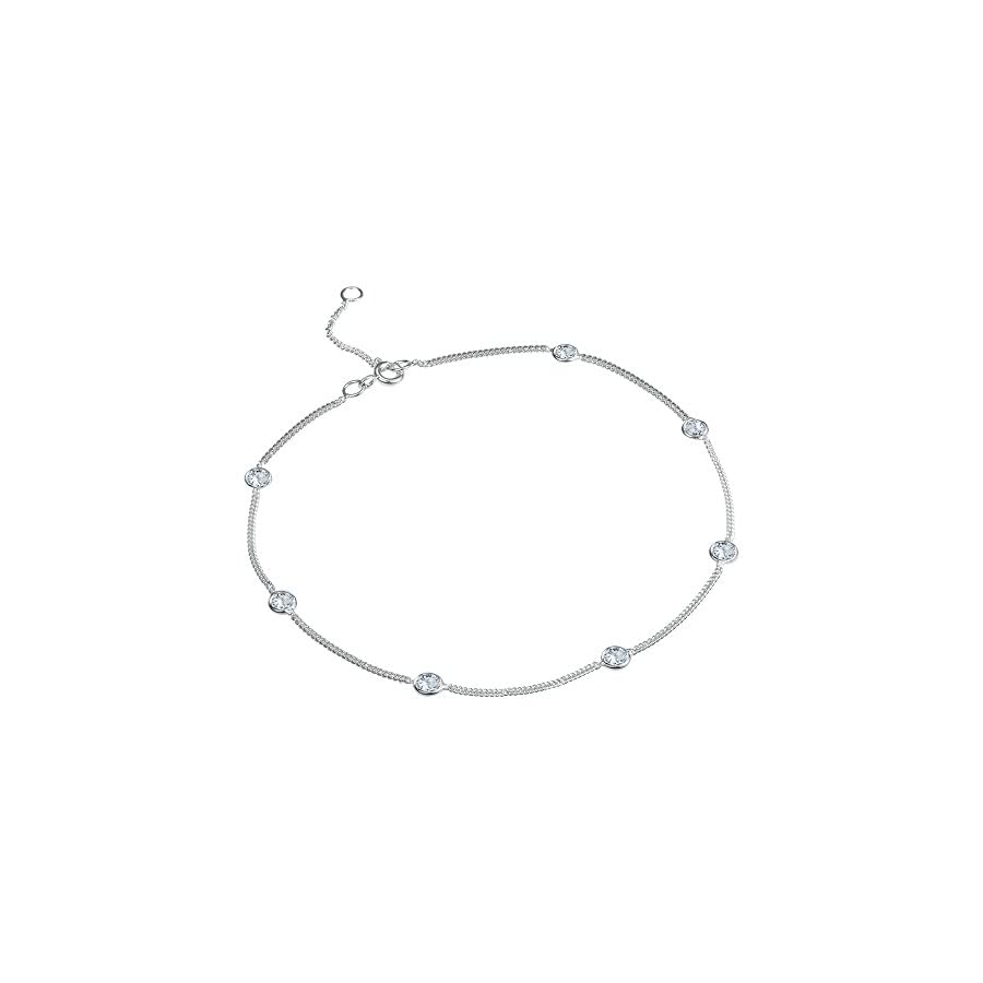 AeraVida Cute Round White Cubic Zirconia .925 Sterling Silver Link Anklet