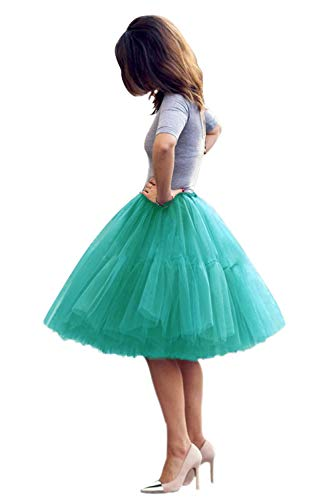 Peacock Tutu Skirt (Lady's Princess Tutu Tulle Midi Knee Length Skirt Underskirt Peacock)
