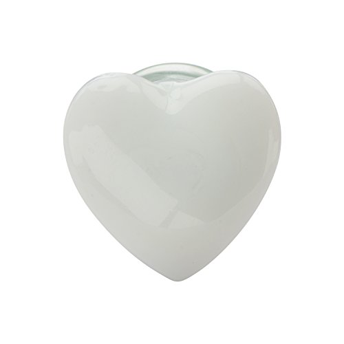 Valentine's Day Jewelry Gifts-Double Flared White Heart Glass Ear Plugs with Clear Saddle by Jewelry Brands