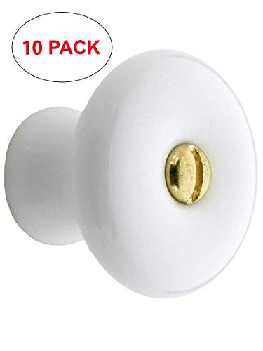 Porcelain Knob Bright Brass Cabinet - R-08BM-5674-10 Large White Porcelain Cabinet Knob - 1 1/4