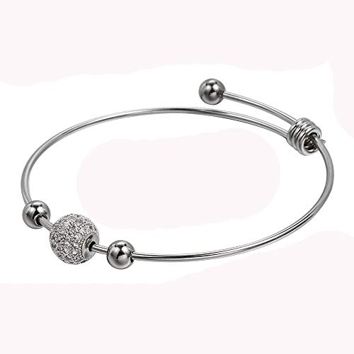 TUSHUO Rhinestone Transparent Bangle Charms Bracelet Stainless Steel Silver Girls Womens Gift