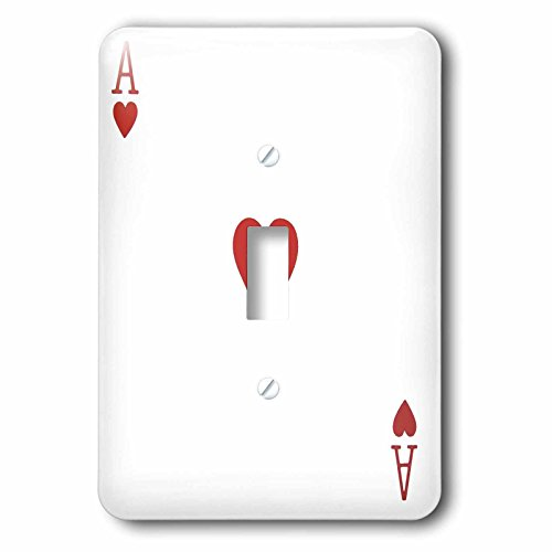 3dRose lsp_76551_1 Ace Of Hearts Playing Card Red Heart Suit Gifts For Cards Game Players Of Poker Bridge Games Single Toggle Switch by 3dRose