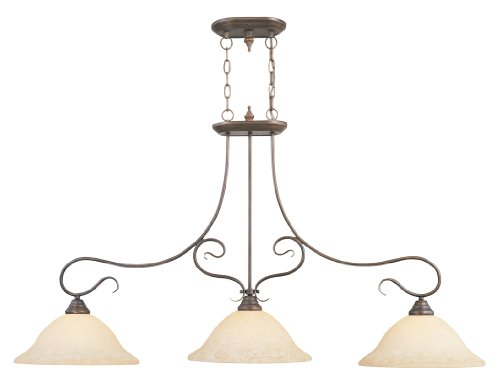 New Imperial Bronze Finish - Livex Lighting 6108-58 Coronado 3 Light Imperial Bronze Island Light with Vintage Scavo Glass