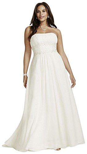 (David's Bridal Chiffon Empire Waist Plus Size Wedding Dress Style 9V9743, White, 26W)