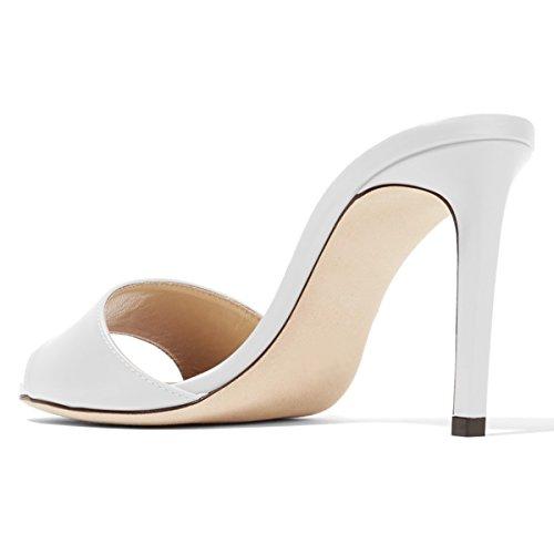 Fsj Vrouwen Casual Peep Toe Mule Sandalen Stiletto Hoge Hakken Feestavond Schoenen Maat 4-15 Us White