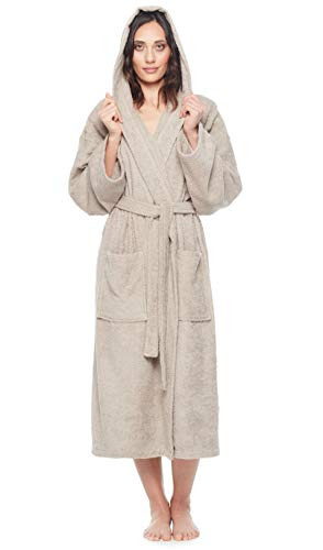 (Arus Women's Classic Hooded Bathrobe Turkish Cotton Terry Cloth Robe (XS,Latte))