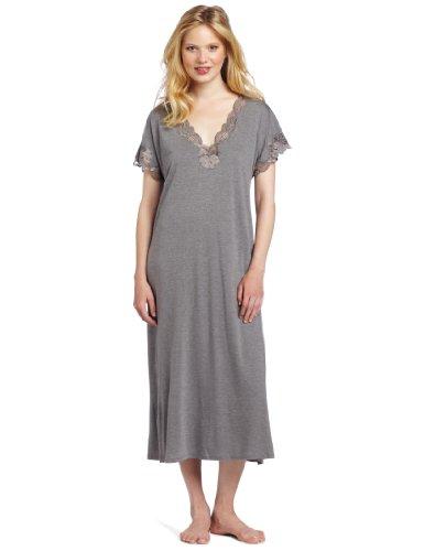 Natori Women's Zen Floral Short Sleeve Nightgown, Heather Grey, X-Small