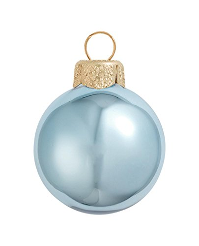 (12ct Shiny Sky Blue Glass Ball Christmas Ornaments 2.75
