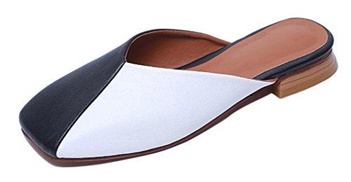 primera capa de piel de sandalias de cuero y sandalias de los deslizadores de las mujeres black and white