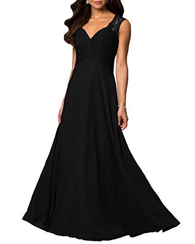 Aofur Womens V Neck Chiffon Casual Maxi Dress Wedding Evening Gowns Summer Sleeveless A-Line Party Long Skirt (Small, Black)