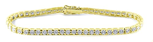 18K Yellow Gold 4.25 Carat (ctw) Natural Wihte Diamond Tennis Bracelet Fine Jewelry for Women from Rare Earth Diamond Jewellery