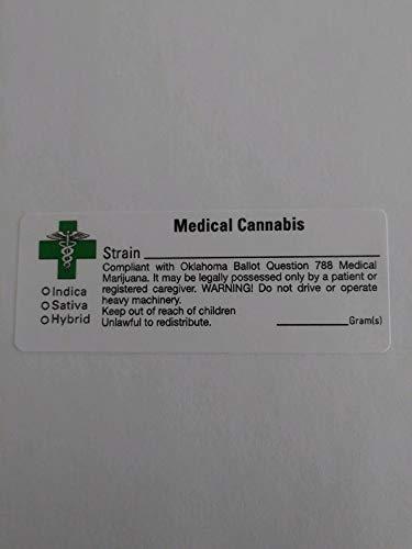 Peel Oklahoma - Oklahoma OK Compliant Marijuana Labels 1000 pcs - Green Cross Cannabis Sticker Ballot Question 788
