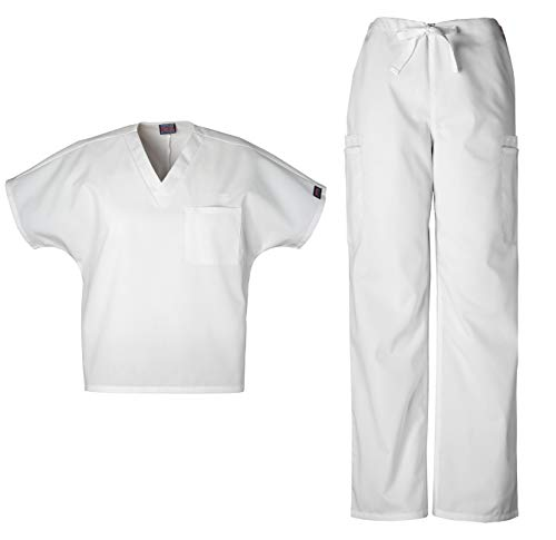 Cherokee Workwear Men's Dental/Medical Uniform Scrub Set - 4777 V-Neck Scrub Top & 4000 Drawstring Cargo Pants (White - Medium/Medium)