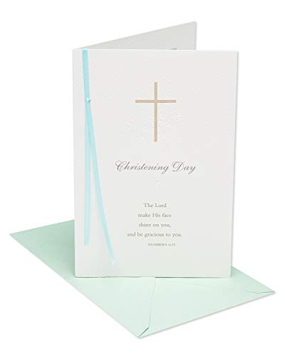 (American Greetings Religious Christening Day Congratulations Greeting Card with Ribbon and Foil)