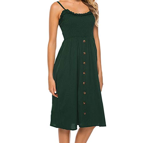 DealinM  Women's Dress,Women's Fashion V-Neck Solid Color Wave Point Sling Points Fork Sleeveless Summer Maxi Dress - Rose Point Fork Baby