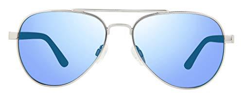 Revo Mens Polarized Sunglasses Raconteur Aviator Frame 58 mm, Chrome Frame, Blue ()