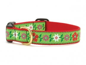 5 8\ Up Country Christmas Poinsettia Dog Collar (5 8  Wide Small (9 -15 ))