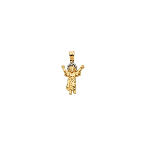 Jewels By Lux 14K Yellow and White Two Tone Gold 26x18.75mm Divino Nino (Infant Jesus) Pendant