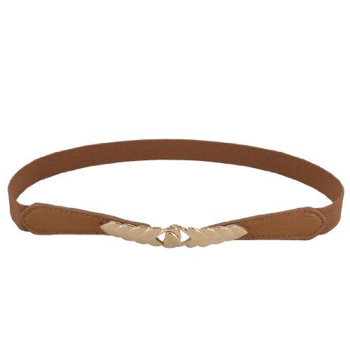 Allegra K Brown Gold Tone Heart Shaped Buckle Elastic Skinny Waistband Belt for Lady (Interlocking Buckle)