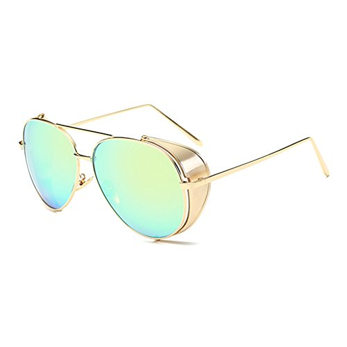 Coolsunny Steampunk Aviator Sunglasses Embossed Intricate Details Side Shields CS8091 (Gold, - Sunglasses With Side Shields Aviator