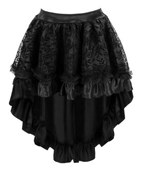 Charmian Women's Steampunk Retro Gothic Vintage Satin High Low Skirt with Zipper 4