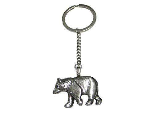 (Kiola Designs Silver Toned Walking Bear Pendant Keychain)