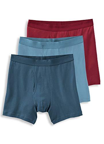Jockey Men's Underwear Signature Pima Cotton Mid-Rise Boxer Brief - 3 Pack, Storm Sky/Spanish Wine/Feeling Blue, L ()
