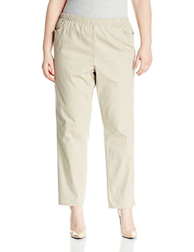 Chic Classic Collection Women's Size Plus Cotton Pull-On Pant with Elastic Waist, Khaki Slub Twill, ()