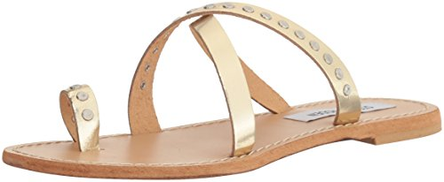Steve Madden Womens Becky Toe Ring Sandal Gold Leather