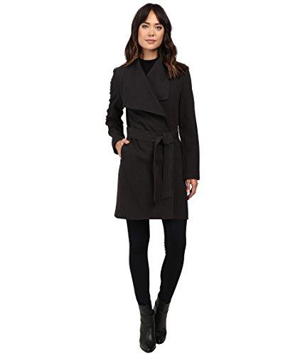 LAUREN Ralph Lauren Crepe Drape Front Wrap Charcoal Women's Coat