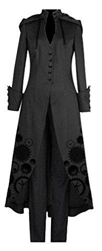 GAGA Women' Vintage Steam Punk Victorian Costume Tuxedo Jacket Black L -