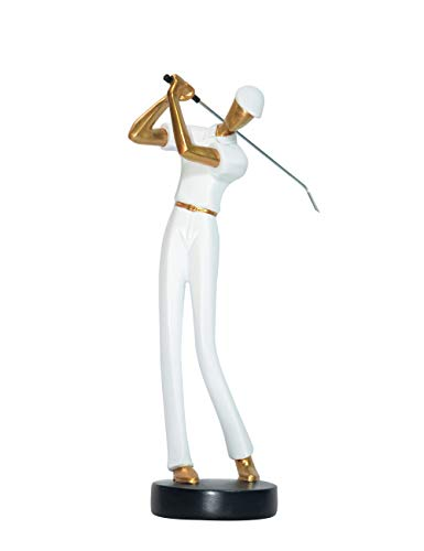 (HomeBerry Golfer Golf Figurine Statue Sculpture Home Decor Decoration Gift Arts Crafts Hand Painted Polyreisn 24cmH)