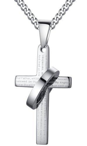 Arco-Iris-Schmuck-Herren-Anhnger-Halskette-Edelstahl-Kreuz-mit-Vaterunser-auf-Englisch-und-Ring-Verstellbaren-Panzerkette-Bibel-Gebet-Silberfarbe