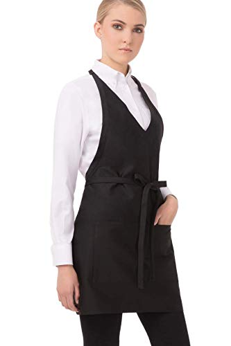 Chef Works Unisex V-Neck Tuxedo Apron, Black 32-Inch Length by 30-Inch Width (White And Black Apron)