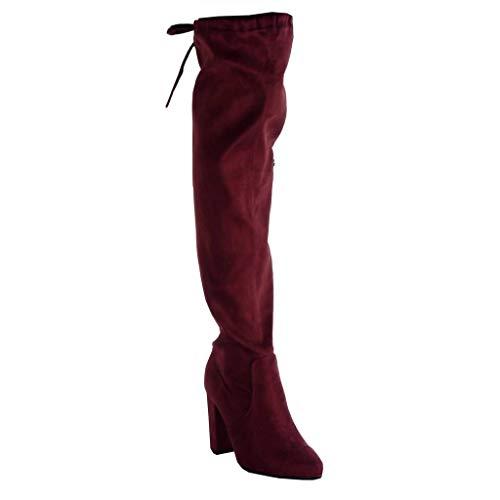 Block Boot Fashion CM 2 knot Shoes Angkorly high 8 Women's soft Wine 5 heel node sexy Boots Thigh ZI5xvq