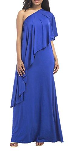 Kleider Damen Lang Große Größen Elegant Sommerkleider One Shoulder ...