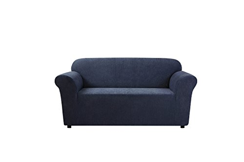 Sure Fit Ultimate Stretch Chenille 1-Piece - Loveseat Slipcover  - Storm Blue (SF45934) (Chenille Fabric Loveseat)