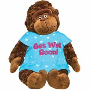 Get Well Soon Plush Gorilla - Monkey with Hospital Gown - Cheer Up Present - Hope you Feel Better - After Surgery - Hospitalization - 15 Inch