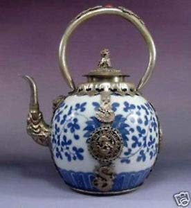 ZAMTAC Chinese Old China Tibet Silver Dragon Blue and White Porcelain teapot Wholesale Factory Arts outlets (Contribution Of Chinese Civilization To The World)