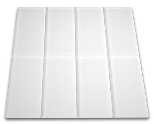 """Frosted White Glass Subway Tile 3"""" x 6"""" Sample"""