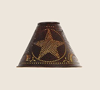 """Colonial Tin Tin Punched Star Lamp Shade in Crackle Black, Clips On Light Bulb, 2"""" x 6"""" x 4"""""""