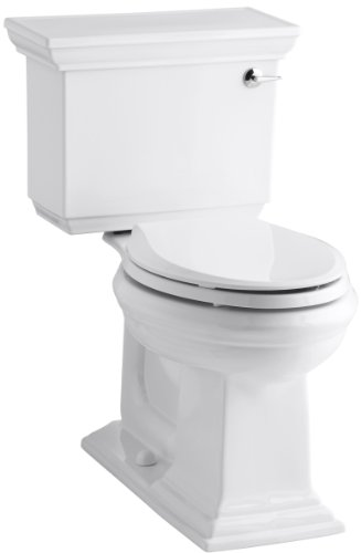 KOHLER K-3817-RA-0 Memoirs Stately Comfort Height Two-Piece Elongated 1.28 GPF Toilet with AquaPiston Flush Technology and Right-Hand Trip Lever, White